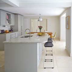 Bright kitchen with grey cabinetry   Kitchen decorating   Beautiful Kitchens   Housetohome.co.uk