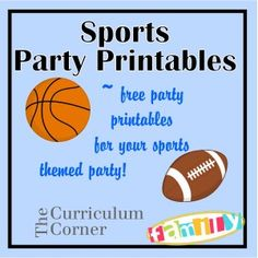 "Free party printables for a sports themed party - water bottle labels, candy bar wrappers, buffet cards/ treat toppers and 2"" circles.  Created by Spencerville Junction and found on www.thecurriculumcornerfamily.com."