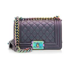 Rental Chanel Iridescent Goatskin Small Boy Bag ($500) ❤ liked on Polyvore featuring bags, handbags, shoulder bags, blue, chanel handbags, chanel, shoulder strap bag, blue handbags and quilted purse