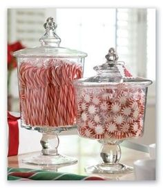 Fill glass canisters with peppermints + candy canes! #christmas #holiday