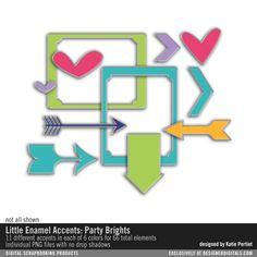 - Little Enamel Accents: Party Brights #metals #stickers #scrapbook #downloads #arrows #chevrons #hearts #brights #designerdigitals #photoshop