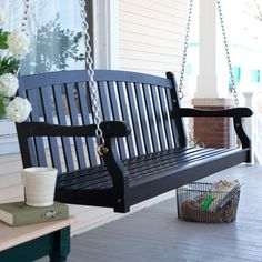 Have to have it. Pleasant Bay Painted Wood Porch Swing - Black $149.98