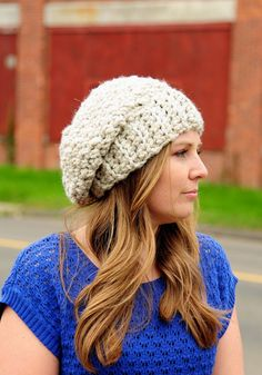 Womens Crochet Hat Womens Winter Hat Slouchy by SimplyMadeByErin, $35.00