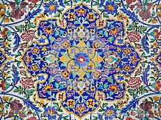 Colorful Flower Design Painted on Tiles Persia - Tehran