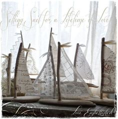 Driftwood Beach Decor Sailboats with Antique Lace and White Linen Sails Fun for a summer table setting