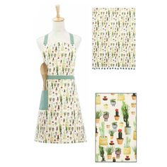 Paper Chase Plant Apron and Kitchen Towel by Peking Handicraft Kitchen Towels, Handicraft, Apron, Cactus, Succulents, Plant, Summer Dresses, Paper, Fashion