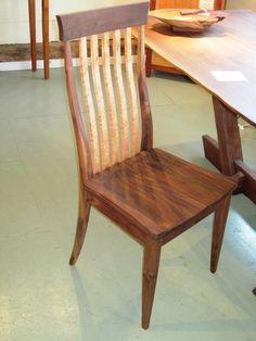 black walnut swept back chair with birdseye maple spindles