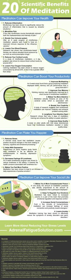 This meditation infographic explains how meditation can improve your health in at least 20 different, scientifically proven ways.