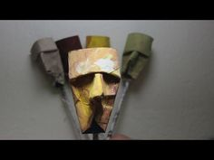 Mascara or Caricature from toilet paper rolls Inspired by the French artist Junior Fritz Jacquet, Toilet Paper Roll Art, Toilet Paper Roll Crafts, Diy Paper, Cardboard Art, Paper Artist, Diy Arts And Crafts, Creations, Handmade, French Art