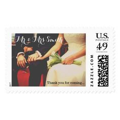 Thank you Custom Wedding Postage Stamp - married gifts wedding anniversary marriage party diy cyo