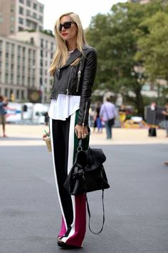 Leather jacket and stripes