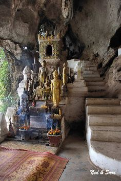 Pak Ou caves,Laos,were discovered in the 16th Century by King Setthathirat [ 1520 to 1548 ]  Whilst the Caves are said to be a Buddhist temple they are also a local animist center.   The first European to visit the Pak Ou Caves was the French explorer Francis Garnier.