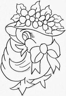 desenho de patinha com chapeu e laço para pintar