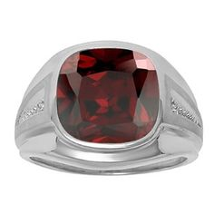Diamond and Red Garnet Men's Large Ring In White Gold Father's Day 2015 Unique Jewelry Gift Presents and Ideas. Gemologica.com offers a large selection of rings, bracelets, necklaces, pendants and earrings crafted in 10K, 14K and 18K yellow, rose and white gold and sterling silver for that special dad. Our complete collection and sale of personalized and custom gifts for dad: www.gemologica.com/mens-jewelry-c-28.html