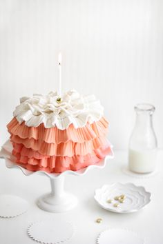 Sprinkle Bakes: Strawberry Shindig Ruffle Cake for a Special Birthday~T~ such a beautiful cake and I love strawberry. I am thinking this would be cute for my granddaughters next birthday.
