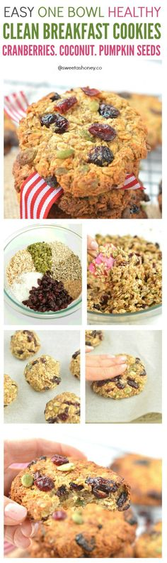 Easy Clean Breakfast Cookies with cranberries coconut pumpkin seeds. Clean breakfast cookies made with wholegrain oats, coconut , cranberries and seeds. An healthy grab and go breakfast to kick start morning energy.