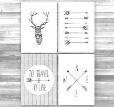 Set of 4 Wander Printables, Printable Art, Chevron, Antlers, Arrows, Compass, Wanderlust, Wall Decor