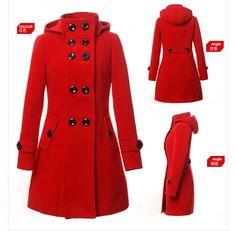 Women Double Breasted Long Coat Jacket Winter Trench Hoodie Hood Slim Wool Warm