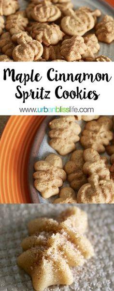 Maple Cinnamon Spritz Cookies recipe on UrbanBlissLife.com