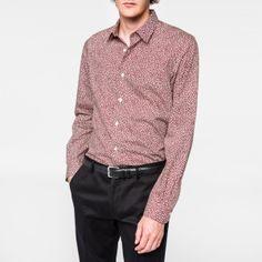 Paul Smith Men's Slim-Fit Red 'Lips' Print Cotton Shirt