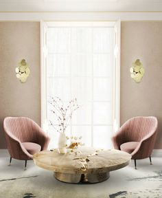 Living room with quartz rose tons. Massiv wood center table, by Boca do Lobo
