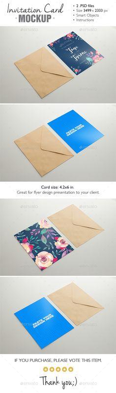 Invitation Card #Mockup v.3 -  #productdisplay mock-ups #designdisplay