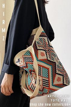 Calla crochet woven tote bag is a new aesthetic new style that belongs in everyone's wardrobe. Special boho color mix finish carries athflow fashion style look with you as an unusual tote handbag. Hippie style purse in a unique aztec crochet pattern made of soft cotton touch and a long shoulder strap. Bohemian chics must-have piece. #everydaypurse #fashionpurses #cutetotes #pursesandbagsboho #bohoshoulderbag #crochetedtote Hippie Style, Gypsy Style, Bag Crochet, Crochet Handbags, Knit Bag, Crochet Pattern, Scandinavian Style, Cordon Crochet, Aztec Tote Bags