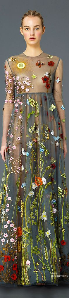 Valentino - Applique And Embroidery Sheer Maxi Dress