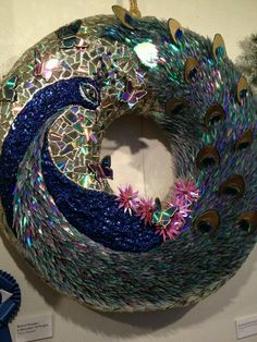 Recycled cd wreath