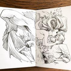 regram @mahmudasrar Give Your Life So I Can Breathe #mastodon #clandestiny #sketch #art #sketchbook #stillmanandbirn #mermaid #siren #sailor #pirate #davyjoneslocker #oldsalt #feedthefish #kiss #ink