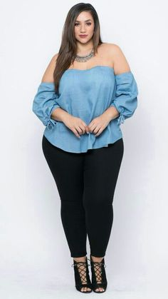 Curvy Sense - Plus Size New Arrivals For Women : A plus size light wash woven denim shirt complete with an off the shoulder neckline, padded bra cups, half sleeves with a self tie drawstring detail, and a cu Curvy Women Fashion, Look Fashion, Runway Fashion, Womens Fashion, Fashion Fall, Plus Size Blouses, Plus Size Dresses, Plus Size Outfits, Curvy Outfits