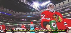 Blues @ Blackhawks: Corey Crawford being a considerate goalie. Blackhawks Hockey, Hockey Goalie, Hockey Teams, Chicago Blackhawks, Hockey Players, Ice Hockey, Patty Kane, Funny Hockey Memes, Corey Crawford
