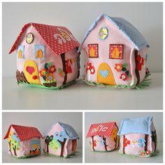 Poofy little felt houses ~ so adorable quiet book quiet toy Fabric Toys, Felt Fabric, Fabric Crafts, House Quilts, Fabric Houses, Softies, Felt Doll House, Felt Decorations, Felt Food