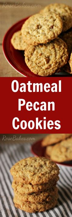 Oatmeal Pecan Cookies - Soft in the middle, crunchy around the edges... perfect! #cookie #recipe