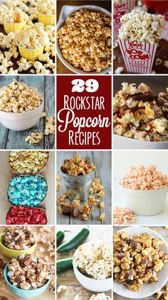 The Baker Upstairs: Snickers Caramel Popcorn + 29 Rockstar Popcorn Recipes! Gourmet Popcorn, Popcorn Snacks, Popcorn Balls, Snacks Für Party, Popcorn Toppings, Sugar Popcorn, Pink Popcorn, Candy Recipes, Treats