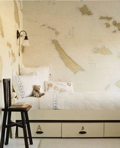 For some reason, I have an obsession with maps, peter pan, pirate ships, and pretty much anything that has to do with oceanic navigation and neverland, for kids room decor.  Couldn't tell you why, but I just think It's rather classy for both boys, and girls.