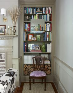 Love the wood in the bookcase!