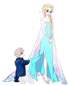 So cute! >w< The little Jack Frost and the queen Elsa Jack Frost E Elsa, Jake Frost, Jack And Elsa, Frozen Elsa And Anna, Disney Frozen Elsa, Arte Disney, Disney Fan Art, Jelsa, Disney Memes