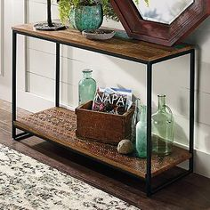 "Sumatra Console Table This table is similar in look but is narrower than the one we brought in. Sumatra Console (149422): 46""W x 15""D x 30""H, 50 lbs.  $399.00 with a 30% discount on Grandin Road"