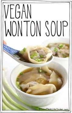 Vegan Wonton Soup Easy and so yummy The wontons are stuffed with slightly sweet soy sauce ginger garlic and rice vinegar marinated mushrooms and chopped walnuts The textu. Soup Recipes, Vegetarian Recipes, Cooking Recipes, Healthy Recipes, Vegetarian Wonton, Vegan Wonton Soup Recipe, Vegetarian Dumpling Soup, Casserole Recipes, Chicken Recipes