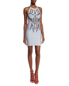 Embellished High-Neck Bandage Dress, Gray