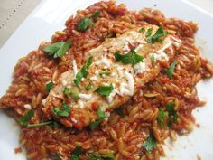 Skillet Italian Chicken with Orzo Super easy one pan meal I made this tonight and I did add some balsamic vinegar at the end to make it taste brighter.