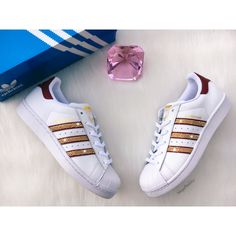 Women's Adidas Original Superstar With Gold Swarovski Crystals ($160) ❤  liked on Polyvore featuring shoes, silver, sneakers & athletic shoes, tie  sneakers, ...