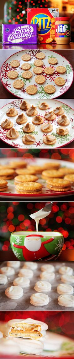 My momma has made these every year @ Christmas since I was a little girl:) White Chocolate Peanut Butter Ritz Sandwiches Christmas Sweets, Christmas Goodies, Holiday Desserts, Christmas Candy, Holiday Baking, Holiday Treats, Christmas Baking, Holiday Recipes, Ritz Crackers