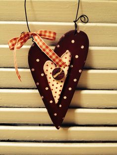 Primitive Polka Dot Double Love Wooden Hearts by VintageTrimmings, $8.00