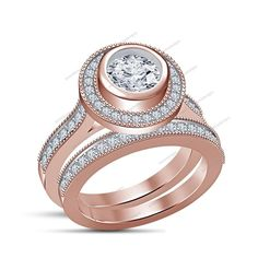 1.75CT Round D/VVS1 14K Rose Gold Finish Bridal Ring Set IN 925 Silver Size 5-11…