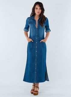 Pinned onto Long Sleeve Maxi Dresses Board in Dresses Category Shirtdress Outfit, Denim Shirt Dress Outfit, Jean Dress Outfits, Long Denim Dress, Denim Short Dresses, Denim Skirt Outfits, Modest Dresses, Short Sleeve Dresses, Maxi Dresses