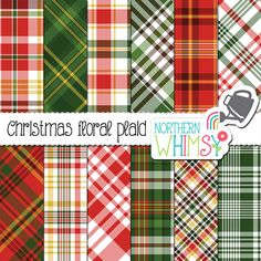 Paper Background Red Green digital Paper Pack Christmas Vintage Stripes Dots Stars Journals Download collage sheet 8.5 x 11 PP117