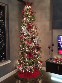 pencil christmas tree ideas Red And Black Christmas Tree Beautiful 33 Ideas Tall Skinny Christmas Tree, Pencil Christmas Tree, Tall Christmas Trees, Ribbon On Christmas Tree, Christmas Tree Design, Beautiful Christmas Trees, Christmas Tree Themes, Holiday Tree, Christmas Tree Toppers