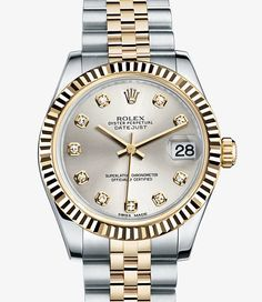 Rolex Watches New Collection : Rolex Datejust 31 Rolesor in Oystersteel and 18 ct Everose gold, with a fluted bezel, white dial set with diamonds and Oyster bracelet. - Watches Topia - Watches: Best Lists, Trends & the Latest Styles Stylish Watches, Luxury Watches, Cool Watches, Rolex Watches, Watches For Men, Rolex Women, Rolex Datejust, Quartz Watch, Fashion Watches